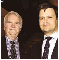 Shown at the same event are Hungarian Ambassador Bálint Ódor, right, and Friends' president Albert Benoit. (Photo: Lois Siegel)