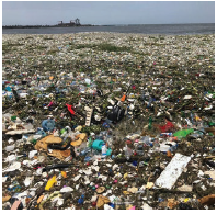 Activists collected 60 tonnes  of waste that washed ashore at Montesinos Beach in the Dominican Republic's capital of Santo Domingo. (Photo: Parley for the oceans)