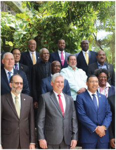 The CARICOM heads of government met with Cuban President Miguel Díaz-Canel (front, centre in red tie) during their 39th regular meeting in Montego Bay, Jamaica.  (Photo: CARICOM COMMUNITY)