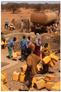 Drought is an ever-present danger. Here OXFAM workers deliver water to drought-sticken Ethiopia. (Photo: OXFAM)