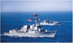 The Red Sea — with the Suez Canal at the north end and the Bab el-Mandeb Strait at its southern mouth — is one of the most important trade routes from the Middle East and the Persian Gulf to Europe. This U.S. guided-missile destroyer is conducting surface exercises to enhance war-fighting readiness in the Red Sea. (Photo: US NAVy photo by mass communication specialist 3rd class Jonathan clay)