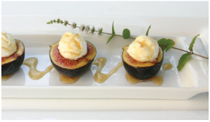 Goat cheese-stuffed fresh figs with Anise-Infused Lemon Syrup (Photo: Larry Dickenson)