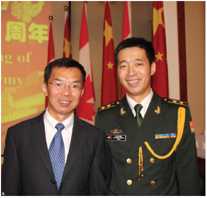 In celebration of the 91st anniversary of the founding of the Chinese People's Liberation Army, Ambassador Shaye Lu hosted a reception at the embassy. He's shown with Lt.-Col. Haifeng Wang, assistant defence attaché of the embassy. (Photo: Ülle Baum)