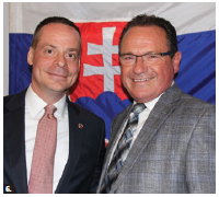 The Slovak embassy hosted a farewell reception for Ambassador Andrej Droba and his wife, Daniela Drobova. Droba (left) is shown with MP Harold Albrecht. (Photo: Ülle Baum)
