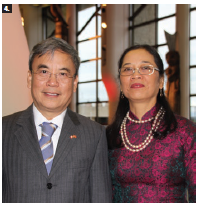 Vietnamese Ambassador Nguyen Duc Hoa, left, and his wife, Tran Nguyen Ahn Thu, hosted a national day reception at the Canadian Museum of History. It marked Vietnam's 73rd national day and the 45th anniversary of diplomatic relations between Vietnam and Canada. (Photo: Ülle Baum)