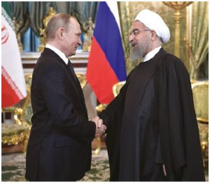 """Russia President Vladimir Putin, shown here with Iranian President Hassan Rouhani, has been expanding Russia's economic ties to Iran, among other """"outlaw"""" states.  (Photo: Kremlin.ru)"""