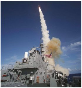 In early October 2018, there was a near collision between the U.S. Navy guided-missile destroyer USS Decatur (shown here launching a standard missile) and the Chinese People's Liberation Army Navy destroyer CNS Lanzhou. (Photo: United States Navy photo)