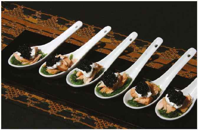Hot Smoked Salmon on Seaweed Salad is a simple appetizer or hors d'oeuvre.   (Photo: Larry Dickenson)