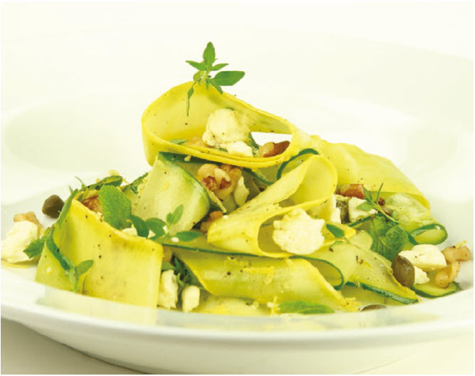 Zucchini Ribbon Salad with Feta is a playful way to begin a meal. (Photo: Larry Dickenson)