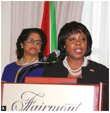 A reception to mark the anniversary of the Caribbean Community took place at the Fairmont Château Laurier. Shown are St. Kitts and Nevis High Commissioner Vaughna Sherry Tross, right, with Guyana High Commissioner Clarissa Sabita Riehl in the background. (Photo: Ülle Baum)