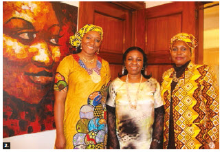 The Africa group of the Heads of Mission Spouses Association (HOMSA) held HOMSA's annual welcome reception and hosted a fashion show at the residence of the Nigerian high commissioner. From left: Joy Akinmoladun, head of the chancery of the Nigerian High Commission; Olawunmi Ibilola Asekun, wife of Nigerian High Commissioner Adeyinka Olatokunbo Asekun, and Happy Lyimo Kidata, wife of the Tanzanian High Commissioner Alphayo Japani Kidata. (Photo: Ülle Baum)
