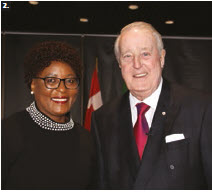 South African High Commissioner Sibongiseni Yvonne Dlamini-Mntambo, left, and Global Affairs Canada hosted a seminar to mark Nelson Mandela's 100th birthday. Former prime minister Brian Mulroney, right, spoke. (Photo: Ülle Baum)