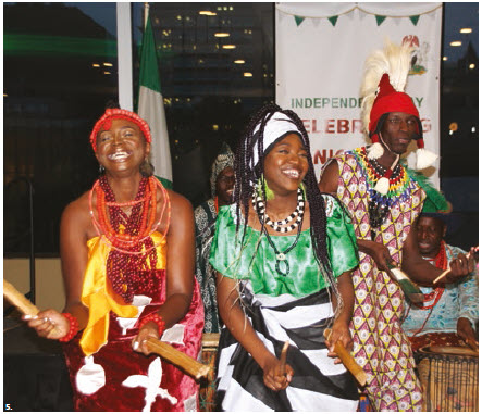 Nigerian High Commissioner Adeyinka Olatokunbo Asekun and his wife, Olawunmi Ibilola Asekun, hosted a national day reception at the Westin Hotel. The Ijo Vudu dance troupe from Toronto performed. (Photo: Ülle Baum)