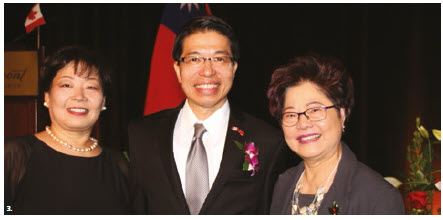 Winston Wen-yi Chen, representative for the Taipei Economic and Cultural Office in Canada and his wife, Sylvia Pan, hosted a reception to mark the 107th Taiwanese National Day at the Fairmont Château Laurier. From left are Pan, Chen and MP Alice Wong. (Photo: Ülle Baum)
