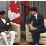 Nepalese Prime Minister K.P. Sharma Oli and Canadian Prime Minister Justin Trudeau chat during a bilateral meeting held in New York in late 2018. (Photo: Embassy of Nepal)
