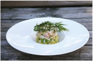 Macadamia, Shrimp and Avocado Timbales make a nice first course and can be adapted into a canapé for cocktail parties as well. (Photo: Larry Dickenson)