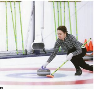 The Diplomatic Hospitality Group invited the spouses of diplomats in Ottawa to learn to curl at the Royal Canadian Curling Club. Ihssane Boujendar, wife of the Tunisian ambassador, is seen here throwing a rock. (Photo: Sam Garcia)