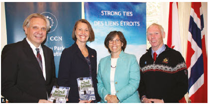 The Norwegian Embassy, with the National Capital Commission (NCC), hosted the launch of Malcolm Hunter's book, The Trail Beckons: 100 years of cross-country skiing in Gatineau. From left, Mark Kristmanson, former NCC CEO, Norwegian Ambassador Anne Ovind, Jennifer Tomlinson, chairwoman of the Cross Country Ski de Fond Canada, and Hunter. (Photo: Ülle Baum)