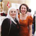Tunisian Ambassador Mohamed Imed Torjemane and his wife, Ihssane Boujendar, hosted an event at their residence highlighting Tunisian cuisine. Boujendar is shown here, right, with Elbia Meghar, wife of the Algerian ambassador. (Photo: Sam Garcia)