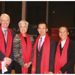 In celebration of Chinese New Year, Ambassador Lu Shaye and his wife, Wang Liwen, hosted a concert at the National Arts Centre. From left: Heng Xiaojun, minister-counsellor at the embassy; Christopher Deacon, president of the NAC; Jayne Watson, CEO of the National Arts Centre Foundation; Shaye; Zhang Gaoxiang, director of the China Broadcasting Performing Arts Troupe; and Zhao Haisheng, minister-counsellor at the embassy. (Photo: Ülle Baum)