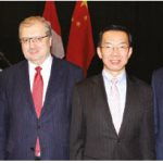 The Chinese Embassy and Carleton University co-hosted the Belt and Road Initiative (BRI) Conference at Carleton University. From left: German Ambassador Sabine Sparwasser, Russian Ambassador Alexander Darchiev, Chinese Ambassador Lu Shaye and Carleton University President Benoit-Antoine Bacon. The day-long event brought together experts, diplomats and business people. (Photo: Ülle Baum)
