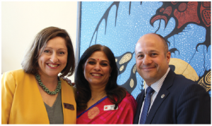 The Asia-Pacific division of the Heads of Mission Spouses Association held the group's annual fundraiser at the Wabano Centre for Aboriginal Health. Event organizers Jane Haycock, left, Aparna Swarup, centre, are joined here by chief of protocol Stewart Wheeler.  (Photo: Ülle baum)