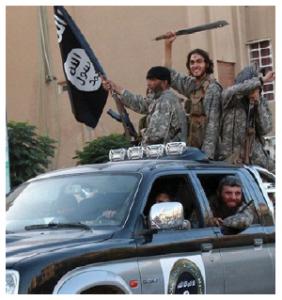 ISIS fighters entering Raqqa, Syria, in 2014. (Photo: Denarivs)