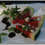 Watermelon Salad with Sesame Balsamic Sauce can be an appetizer or part of a fruit plate at breakfast. (Photo: Larry Dickenson)