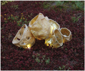 Annette Hegel and Deborah Margo have created a space that examines the bee's world [using] organic materials such as beeswax and sedum plants, along with sound recordings of bee activity and shifting light. It will remain at the City Hall Gallery until Sept. 29.  (Photo: photos Courtesy of the galleries)