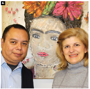 UNAM-Canada director Alicia Mayer González hosted the launch of an exhibition titled Our Frida by 23 artists from Mexico. Shown are curator Alejandro Dorantes, left, and González. (Photo: Ülle Baum)