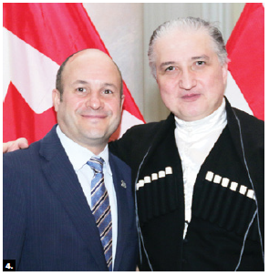 Georgian Ambassador Konstantine Kavtaradze hosted a national day event at the Fairmont Château Laurier. He's joined here by chief of protocol, Stewart Wheeler, left. (Photo: Sam Garcia)