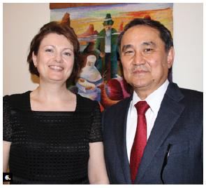 Kazakh Ambassador Akylbek Kamaldinov and his wife, Olga Kamaldinova, hosted a dinner at their residence for members of the media. (Photo: Ülle Baum)