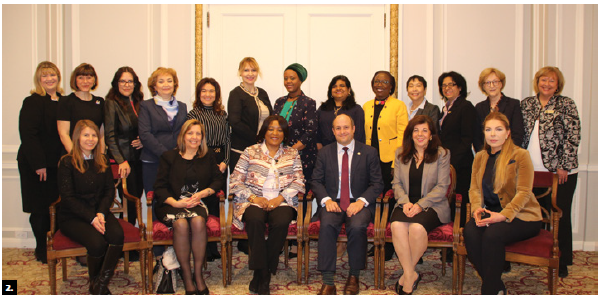 To mark International Women's Day, the Fairmont Château Laurier hosted a luncheon for female ambassadors in Ottawa. They are shown here, along with Château staff and chief of protocol Stewart Wheeler, who is in the middle. (Photo: Ülle Baum)