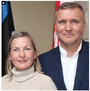 To celebrate Estonian Flag Day, Ambassador Toomas Lukk and his wife, Piret Lukk, hosted a reception at the new Estonian Embassy. The event featured a presentation by International Estonian Centre architect Alar Kongats. From left: Ellen Valter, chair of the International Estonian Centre, and Lukk. (Photo: Ülle Baum)