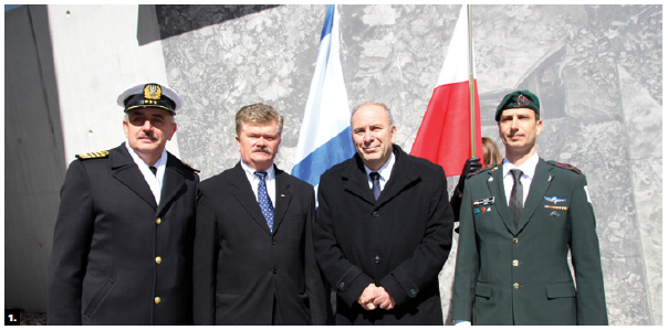 The embassies of Israel and Poland held a ceremony to commemorate the 76th anniversary of the Warsaw Ghetto Uprising at the National Holocaust Monument. Holocaust survivors and members of the Jewish and Polish communities attended. From left: Polish defence attaché Krzysztof Ksiazek, Polish Ambassador Andrzej Kurnicki, Israeli Ambassador Nimrod Barkan and Israeli defence attaché Col. Nachmani Amos. (Photo: Ülle Baum)