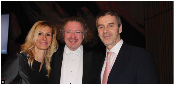The Brussels Philharmonic Orchestra performed at the National Arts Centre. Belgian Ambassador Verkammen, right, and his wife Kathleen Billen, left, hosted pre- and post-concert receptions. They're shown with conductor Stéphane Denève. (Photo: Ülle Baum)