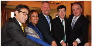 From left, Austrian Ambassador Stefan Pehringer, Senait Gebregziabher (SOS Children's Villages), SOS CEO Thomas Bauer, MP Garnett Genius and Ambassador Konstantine Kavtaradze at the reception.