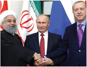 Iranian President Hassan Rouhani, Russian President Vladimir Putin and Turkish President Recep Tayyip Erdogan met in 2019 to discuss the future of Syria. (Photo: Press Service of the President of Russia)