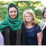 "The Canadian Federation of University Women's ""women helping Afghan women group"" hosted a fundraising dinner at Ottawa Hunt and Golf Club. From left, Lorna Bickerton, convenor of the group; Roya Rahmani, Afghan ambassador to the U.S.; and group members Elizabeth Wilfrid and Hally Siddons. (Photo: Ülle Baum)"