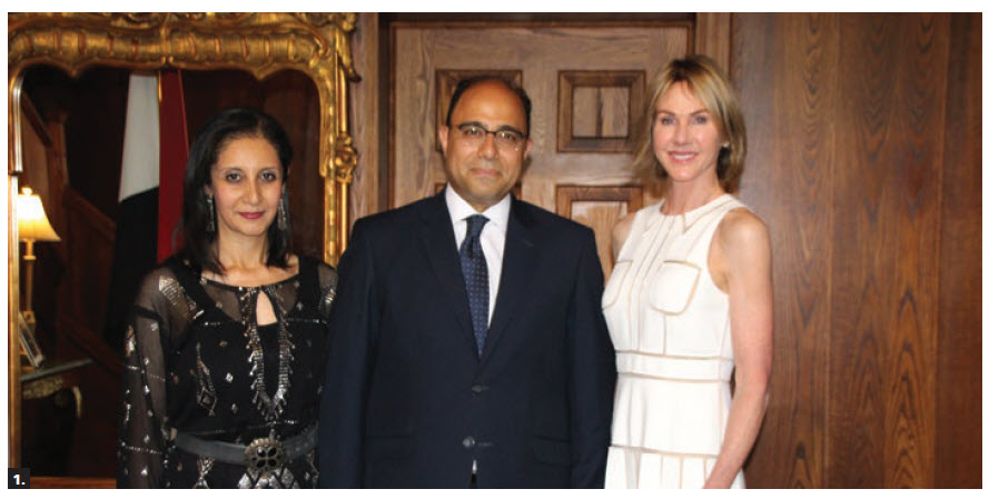 To mark Egypt's national day, Ambassador Ahmed Abu Zeid hosted a reception at his residence. From left,  Zeid's wife, Aliaa Adel Saadeldein Elsherif,  Zeid and U.S. Ambassador Kelly Craft. (Photo: Ülle Baum)