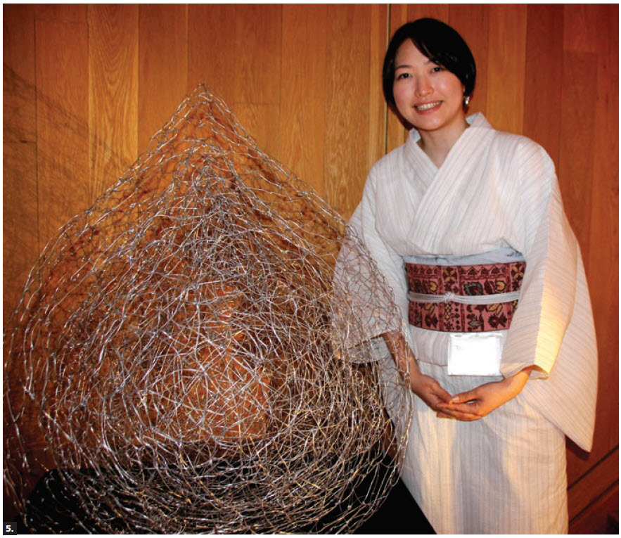 """Japanese Ambassador Kimihiro Ishikane and his wife, Kaoru, hosted a reception to launch an art show titled """"Go Somewhere"""" by five female Japanese artists. Tsuboni Yonekura is shown with her work. (Photo: Ülle Baum)"""
