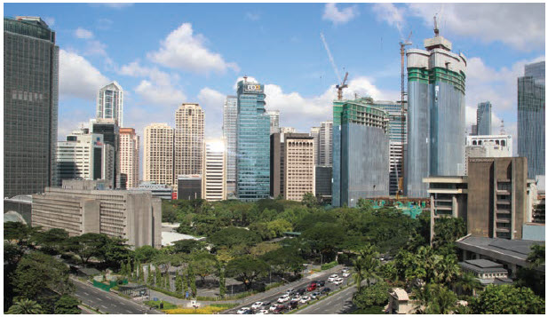 The view from the Makati Shangri-La Manila Hotel, overlooking the central business district in Manila. This five-star hotel is located is close to large shopping malls and entertainment. Manila is 8th among the Top-10 megacities of the world, with a population of more than 24 million. (Photo: Ülle Baum)