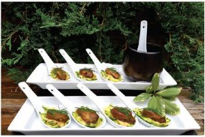 Zippy Smoked Oysters on Oriental Spoons are a lovely canapé for a party or a starter for a romantic meal for two. (Photo: Margaret Dickenson)