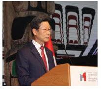 To mark its national day and armed forces day, Korean Ambassador Maengho Shin and his wife, Dongmin Lee, hosted a reception and concert by Korean musician Sora Kim at the Canadian Museum of History. Shin, shown here, spoke. (Photo: Ülle Baum)