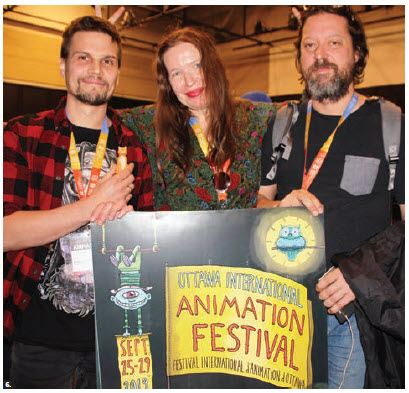 The 43rd annual Ottawa International Animation Festival took place. From left: Estonia's Sergei Kibus  holding a mold of his film's main character — a cat named Teofrastus — along with Chintis Lundgren (Estonia) and producer Draško Ivezič (Croatia.) (Photo: Ülle Baum)