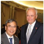 To mark Vietnam's 74th national day, Ambassador Duc Hoa Nguyen hosted a reception at the Fairmont Château Laurier. He's shown with Senator Peter M. Boehm. (Photo: Ülle Baum)