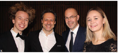 Musicians from the EU and Canada took part in the first Frenergy tour in Canada. From left: John Sellick, viola, member of the National Youth Orchestra of Canada; Sascha Goetzel, the Viennese conductor, former EU Ambassador Peteris Ustub and Birgit Katriin Born, Estonian violinist and member of the EU Youth Orchestra. (Photo by Ülle Baum)