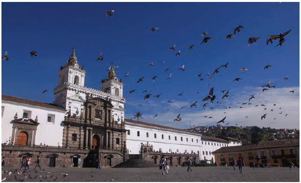 The Church and Convent of St. Francis is a 16th-Century Roman Catholic complex in Quito, the capital of Ecuador. Baroque art is predominant in this city. (Photo: Ecuador tourism)
