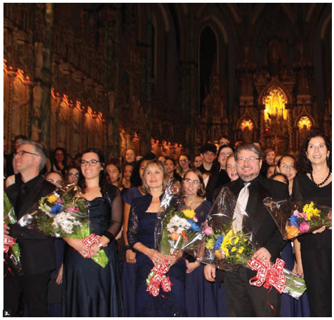 The 12th European Union Christmas Concert took place at the Notre-Dame Cathedral Basilica. From left: artistic director Timothy Piper; soprano Nadia Petrella; Jackie Hawley, conductor of the Cantiamo Girls Choirs of Ottawa; Kurt Ala-Kantti, conductor of the Harmonia Choir of Ottawa; and Carla MacGregor, of the Ottawa Catholic School Board Chamber Choir. (Photo: Ülle Baum)