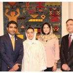 United Arab Emirates Ambassador Fahad Saeed Al Raqbani hosted an opening reception of the Fatima Bint Mohamed Bin Zayed (FBMI) Afghan Peace Carpet Exhibit at the Canadian War Museum's Barney Danson Theatre. From left: Rick Hillier, former chief of defence staff of the Canadian forces; Ambassador Al Raqbani; his wife, Abeer Sulaiman M.A. Alrayaysah; Shabana Kargar, third secretary of the Afghan embassy; Sayed Mujtaba Ahmadi, deputy head of mission at the Afghan embassy, and FBMI regional manager Farshied Jabarkhyl. (Photo: Ülle Baum)